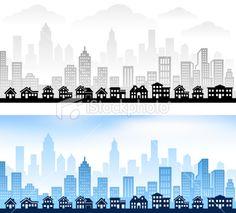 Suburban Community with City Skyline Royalty Free Stock Vector Art Illustration