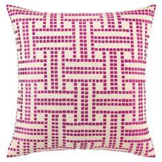 DL Rhein Basket Weave Raspberry Embroidered Pillow PH24DL526BC20SQ
