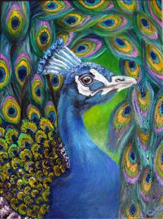 Print of Original Oil Painting - Peacock with Abstract Free Flowing Tail - Teal, Purple, and Golden Feathers via Etsy