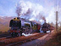 Railway Paintings by John Austin FGRA.. Royal Scot on Beattock Bank.Royal Scot overtakes a Stanier Black Five....ROYAL SCOT  on Beattock Bank..17