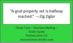 Decision Making Quotes, Outer Core, Making Goals, Goal Quotes, Zig Ziglar, Coaching, Training