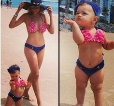 Ladies, don't ever EVER put your little girls in bathing suits like these. It's beyond tacky. She's a baby...not an adult. But, some people aren't cut out to be decent and responsible parents. This ISN'T cute.