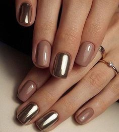 Pretty Golden Chrome Nail Art Designs for Prom – The Best Nail Designs – Nail Polish Colors & Trends Short Nail Designs, Cool Nail Designs, Designs For Nails, Nail Design For Short Nails, Manicure For Short Nails, Classy Nail Designs, Gorgeous Nails, Pretty Nails, Pretty Eyes