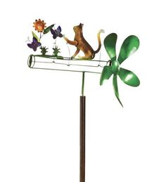 Cat And Butterflies Metal Whirligig