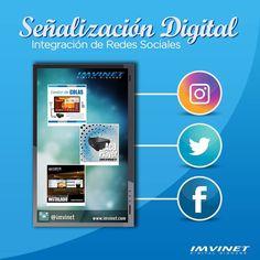 Nuestro Software permite a todos nuestros clientes la integración de las redes sociales en sus Carteleras Digitales herramienta que hoy en día es tan importante para el plan de Marketing Digital. Para más información contáctanos vía emailinfo@imvinet.com