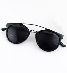 Black Lenses Round Sunglasses - Sheinside.com
