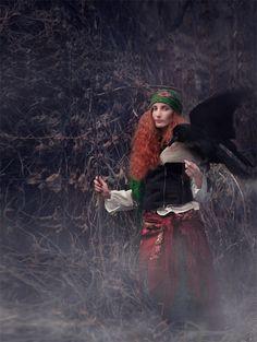 baba-yaga by whitecrow-soul (Whitecrow Soul with her companion Raven)