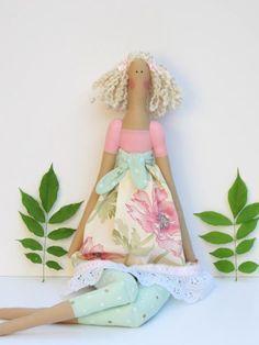 Tilda doll fabric doll handmade rag doll pink by HappyDollsByLesya