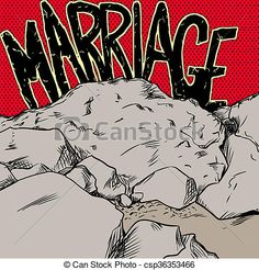 Marriage on the rocks in red and yellow. Concept illustration of marriage text over red and yellow over rocks. Royalty Free Photos, The Rock, Rocks, Photographs, Marriage, Clip Art, Concept, Graphics, Yellow