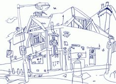 Olivier Kugler's illustrations 10th Exam, Illustration Artists, Vector Illustrations, Interesting Buildings, House Drawing, Illustrators, Real Life, Diagram, Drawings