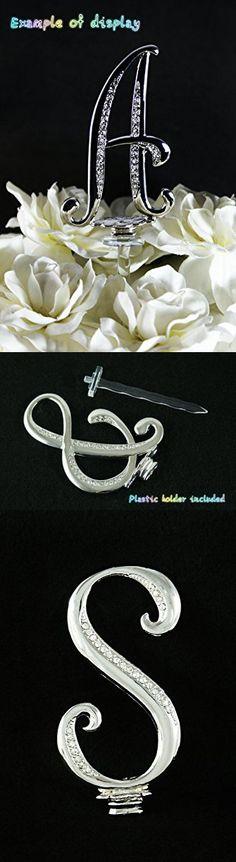 "Silver Rhinestone Monogram Wedding Cake Topper Top Letter Initial ""S"""