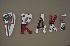 Wooden nursery letters sports theme by hughese on Etsy, $16.00