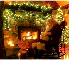 Santa getting some much needed rest! Picture from Christmas Cottage Cornor Christmas Scenes, Christmas Past, Country Christmas, Christmas Pictures, All Things Christmas, Winter Christmas, Vintage Christmas, Vintage Santas, Irish Christmas