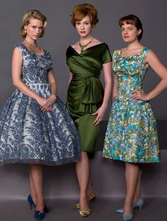 Mad Men - 50's & 60's vintage dresses can look great on curvy women. Love the green one.