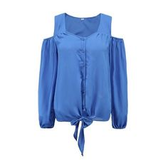 Rotita Cold Shoulder Long Sleeve Royal Blue Blouse ($18) ❤ liked on Polyvore featuring tops, blouses, blue, blue blouse, v neck blouse, open shoulder blouse, long sleeve chiffon blouse and long sleeve tops
