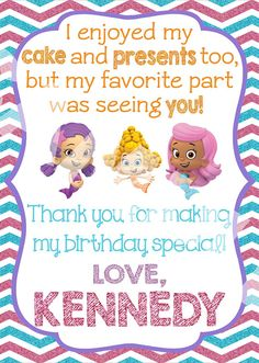Custom Bubble Guppies thank you card! Comes in a PDF file with two 5 x 7 invites per page. Print as many as you wish for PERSONAL use only!