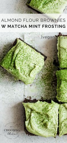 These Almond Flour Brownies with Matcha Mint Frosting are a delicious grain-free, gluten-free and dairy-free treat topped off with creamy cashew frosting! Dairy Free Treats, Gluten Free Desserts, Gluten Free Recipes, Vegetarian Recipes, Healthy Recipes, Vegan Sweets, Healthy Sweets, Dinner Healthy, Breakfast Healthy