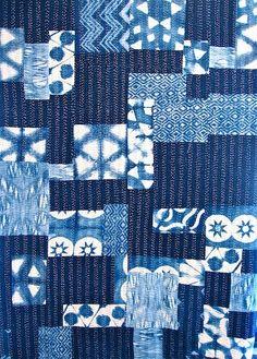 my indigo patchwork quilt- shibori patches in 2 sizes