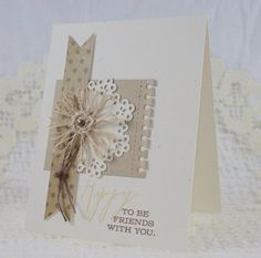 Handmade Greeting Card - Happy To Be Friends With You via Etsy