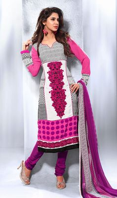 Pink and White Crepe Georgette Printed Churidar Suit Be a touch of sparkle by draping yourself with this pink and white crepe georgette printed churidar suit. That you can see some intriguing patterns accomplished with block print, resham and stones work. #GeorgettePrintedChuridarSuit #LatestDesignerSalwarkameez