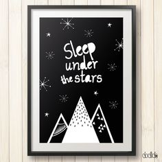 Inspirational kids poster, kids motivational quote, sleep under the stars, nursery decor, black and white poster by Dodlido on Etsy