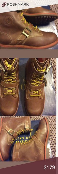 Ralph Lauren polo Maurice boots RALPH LAUREN POLO New with the box    MAURICE Signature RL design Oiled smooth leather Made of leather Leather laces Quality and stylish boots Wool lined Size 10              _______     ________ Polo by Ralph Lauren Shoes Boots