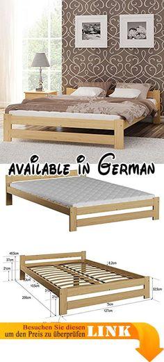 B008DU58BK  Doppelbett Massivholz-Bettgestell Kiefer natur 140x200