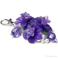 Purple Grape Floral Crystal Pearl Cluster by whimsydaisydesigns, $24.00