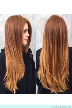 Brown copper balayage ends with a lighter base