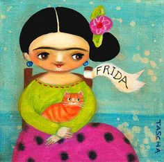 frida with ribbon and orange cat, tascha