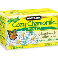 Bigelow Chamomile Tea - great to wind down at night and helps me sleep, also helps headaches and stomach aches