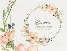 Watercolor blooming wreath. Hand painted floral от NatalivaShades