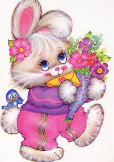 Flowers for my Sweet Friends❤️Thankyou for all your messages and pins❤️Sending Love and Hugs❤️Annie Bluebird x o x o LY Thank you sweet Annie Bluebird. Bunny Images, Cute Images, Cartoon Cartoon, Bunny Art, Cute Bunny, Animal Drawings, Cute Drawings, Baby Animals, Cute Animals