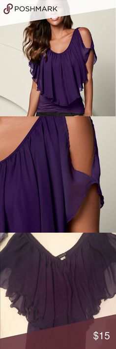 Purple cold shoulder top Purple cold shoulder top. In great condition. VENUS Tops Tees - Short Sleeve