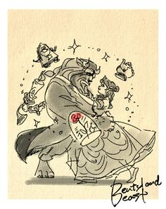 Masuo's Disney Movie Sketches - Beauty and the Beast Disney Pixar, Fera Disney, Walt Disney, Disney Films, Disney Fan Art, Disney And Dreamworks, Disney Animation, Disney Love, Disney Magic