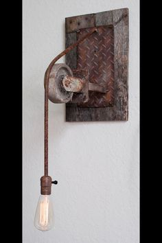 Rustic Industrial Light by Iron Image Studio in Ocala, FL.  $250 - SOLD - We can build something similar for you.  352-427-9153