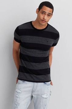 AEO Striped Crew T-Shirt  by AEO | Line up your look.  Shop the AEO Striped Crew T-Shirt  and check out more at AE.com.