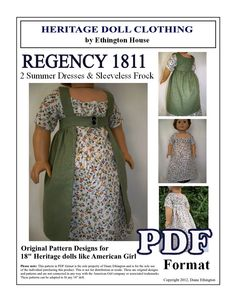 Regency 1811 Summer Dresses and Sleeveless Frock Coat Pattern for American Girl or 18 inch doll - INSTANT DOWNLOAD. $5.00, via Etsy.