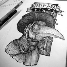 #plague #doctor #linework #tattoo
