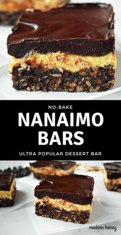No-Bake Nanaimo Bars. A popular Canadian dessert bar made with a chocolate coconut graham cracker crust, creamy custard filling, and decadent chocolate layer. A 5 star dessert bar. www.modernhoney.com