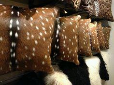 Deer Hide Pillows 18 x 18 Boho Chic Living Room, Living Room Decor, Deer Mounts, Deer Hide, Fabric Animals, My Art Studio, Oh Deer, Floor Rugs, Leather Craft