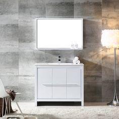 "Fresca Allier 40"" Single Modern Bathroom Vanity Set with Mirror | AllModern"
