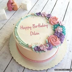 The name [rehan] is generated on Romantic Colorful Roses Birthday Cake With Name… - Cake Decorating Writing Ideen Birthday Cake With Flowers, Beautiful Birthday Cakes, Beautiful Cakes, Colorful Birthday Cake, Simple Birthday Cake Designs, Amazing Cakes, Friends Birthday Cake, Happy Birthday Cakes, Cake Birthday