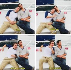 Dylan O'Brien and Tyler Hoechlin, caught in a ship. #teenwolf #sterek