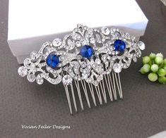 Bridal Hair Piece ROYAL BLUE SAPPHIRE Wedding Hair Piece Prom Pageant Bridesmaid