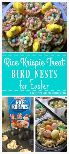 These Rice Krispie treat bird nests are a fun and easy treat to make for kids fo. These Rice Krispie treat bird nests are a fun and easy treat to make for kids for Easter. cooking ideas for preschoolers cooking ideas for toddlers egg recipes ideas Easter Snacks, Easter Dinner Recipes, Easter Brunch, Easter Deserts, Easter Food, Easter Party, Rice Krispie Nests, Easy Treats To Make, Easter Side Dishes