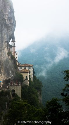Madonna Della Corona, high above the hills of Verona, built into the side of a cliff.