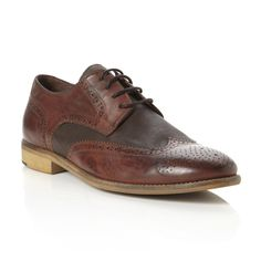 BERTIE MENS ASTON - Two Tone Leather Lace Up Brogue - brown | Dune Shoes  Online