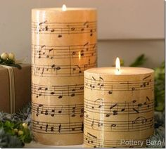 Pottery Barn knock-off music candle tutorial Christmas Candles, Christmas Music, Christmas Crafts, Christmas Ornament, Christmas Time, Merry Christmas, Ornaments, Pottery Barn Style, Pottery Barn Inspired