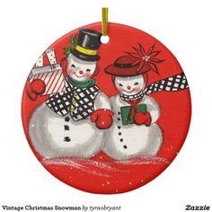 Vintage Christmas Snowman Ceramic Ornament
